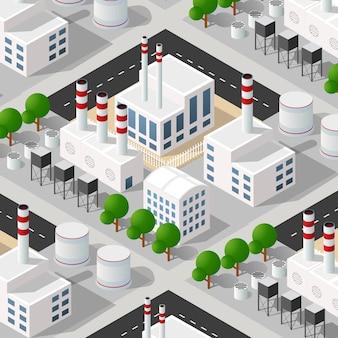 Izometryczny 3d dzielnicy przemysłowej dzielnicy miasta z ulicami.