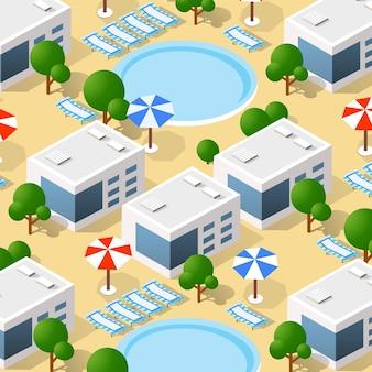 Izometryczny 3d hotel z basenem i parasolami architektury wektorowej infrastruktury miejskiej. nowoczesna biała ilustracja do projektowania gier i tła formularza biznesowego.