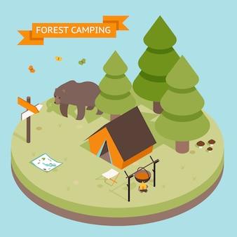 Izometryczny 3d ikona kempingu lasu. las i namiot, niedźwiedź i ogień