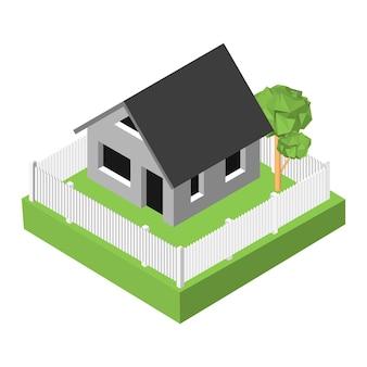 Izometryczny 3d ikona. piktogramy dom ze skrzynką pocztową i drzewami. ilustracja wektorowa eps 10