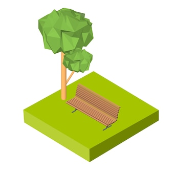 Izometryczny 3d ikona. piktogramy ławki na trawie i drzewie. ilustracja wektorowa eps 10