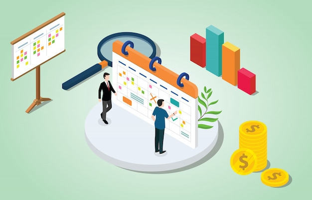 Izometryczny 3d koncepcja zarządzania projektem z kalendarza biznesowego