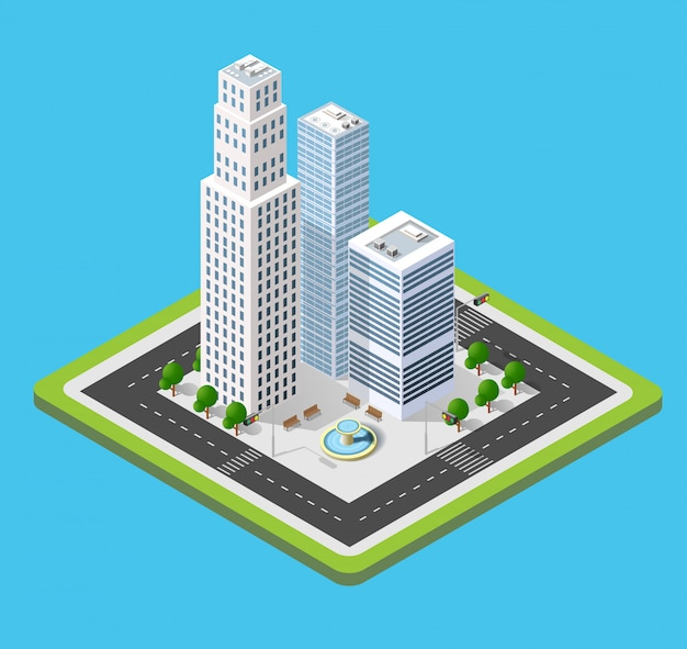 Izometryczny 3d miasto trójwymiarowy