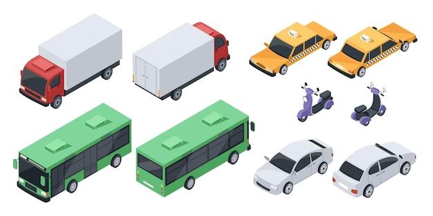 Izometryczny 3d miasto wektor pojazdy transportowe samochody widok z przodu iz tyłu sedan autobus publiczny ciężarówka skuter