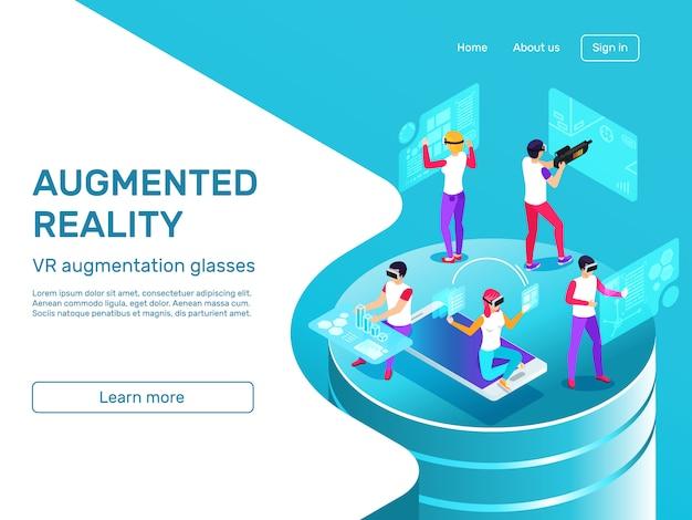 Izometryczny 3d osób uczących się i pracujących na stronie docelowej gadżetów mobilnych w rozszerzonej rzeczywistości