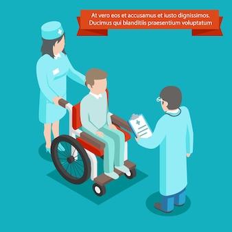 Izometryczny 3d pacjenta na wózku inwalidzkim z personelem lekarza. medycyna i zdrowie, opieka zdrowotna