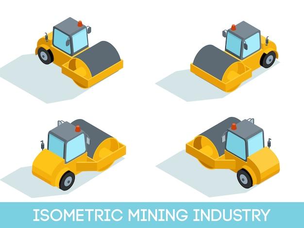 Izometryczny 3d przemysł wydobywczy, sprzęt wydobywczy i pojazdy na białym tle ilustracji wektorowych