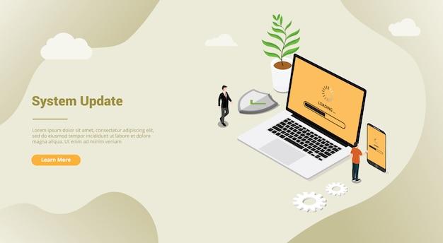 Izometryczny 3d system aktualizacji poprawki zabezpieczeń koncepcja z laptopa i smartfona