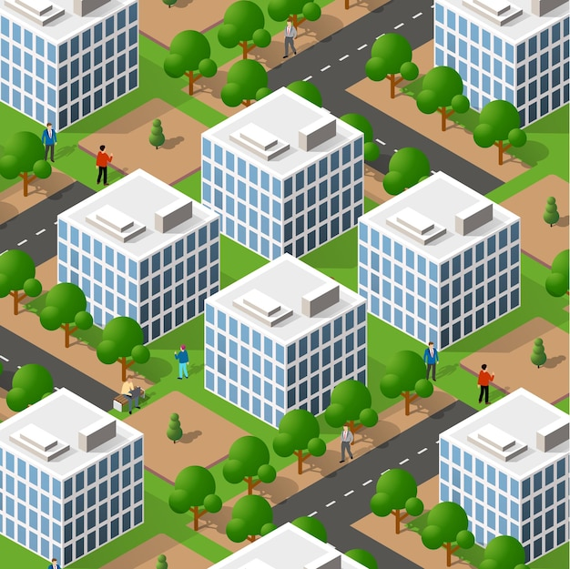 Izometryczny 3d ulica śródmieście architektura dzielnicy części miasta z budynkami dróg na zewnątrz.