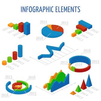 Izometryczny 3d wektor wykresy ustawione dla infografiki