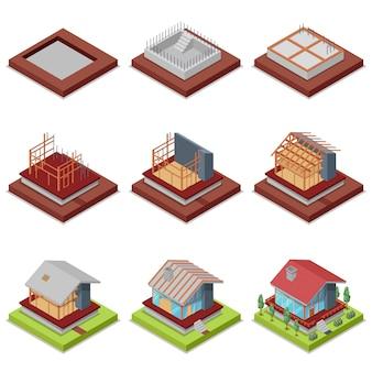 Izometryczny 3d zestaw etapów budowy domu
