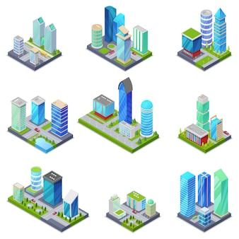 Izometryczny 3d zestaw letnich dzielnic miasta