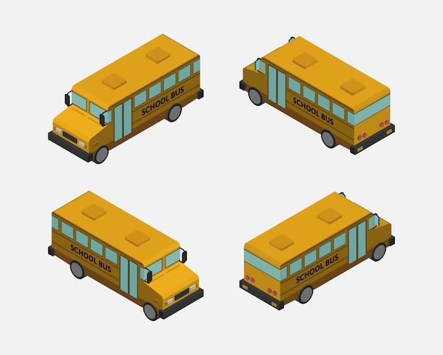 Izometryczny 3d żółty Autobus Szkolny Wektor Premium Wektorów