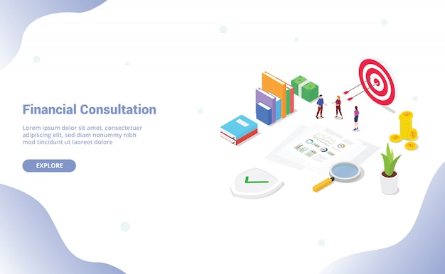 Izometryczny analiza raportu z konsultacji finansowych z pracownikami zespołu i dokumentem szablonu strony internetowej lub strony docelowej