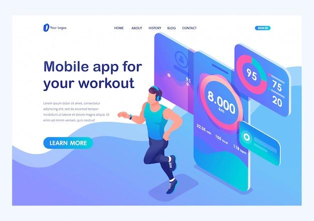 Izometryczny aplikacja mobilna śledzi trening mężczyzny. sportowiec do biegania, słuchawki dresowe.