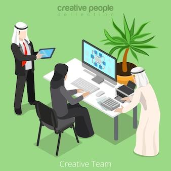 Izometryczny arabski islamski muzułmański kreatywny biznesmen pracy zespołowej