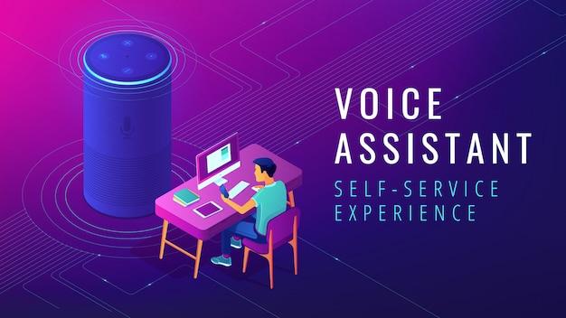 Izometryczny asystent głosowy ilustracja automatyczna samoobsługa
