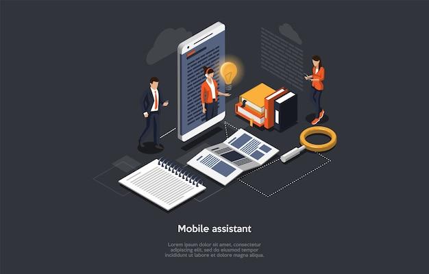 Izometryczny asystent mobilny 3d, koncepcja pomocy technicznej online 24/7. ludzie biznesu biorą udział w wideokonferencji z asystentem, który udziela nowych pomysłów biznesowych i udziela konsultacji. ilustracja wektorowa 3d.