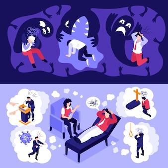 Izometryczny atak paniki ludzie poziome banery ustawione w