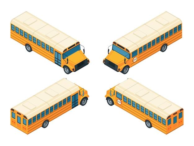 Izometryczny autobus szkolny. różne widoki szkolnego autobusu