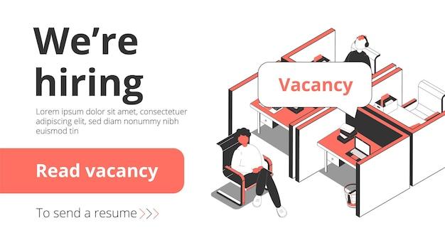 Izometryczny baner agencji rekrutacyjnej z rozmową kwalifikacyjną dla osób poszukujących pracy