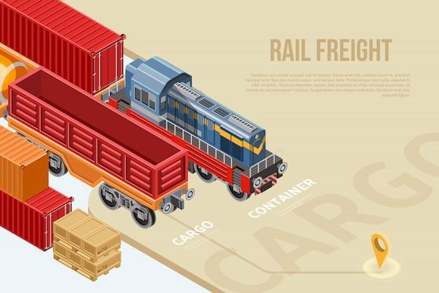Izometryczny baner dla transportu kolejowego