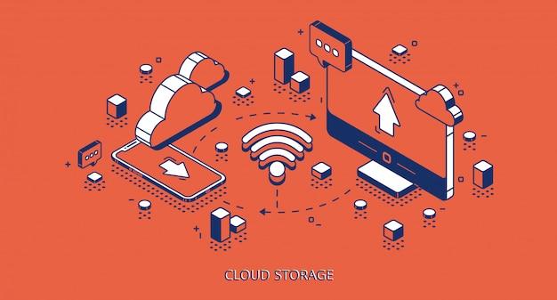 Izometryczny baner do przechowywania w chmurze, technologia cyfrowa