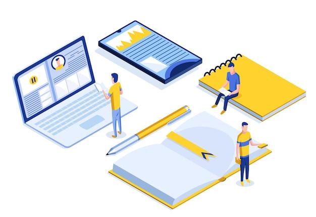 Izometryczny baner edukacji online z postaciami. e-learning w domu dla ucznia. edukacja na odległość w ilustracji wektorowych środowiska wirtualnego