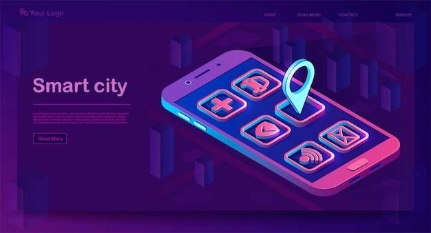 Izometryczny baner inteligentnego miasta aplikacji
