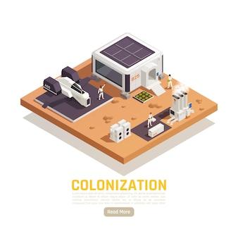 Izometryczny baner o terraformacji kosmicznej kolonizacji z budynkami, pojazdem latającym i postaciami ludzkimi