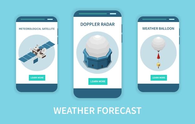 Izometryczny baner prognozy pogody z radarem i satelitą