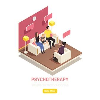 Izometryczny baner psychoterapii rodzinnej