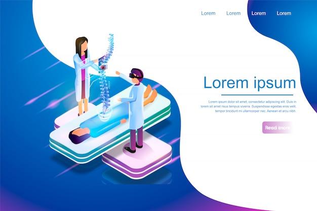 Izometryczny baner rzeczywistość wirtualna w medycynie 3d