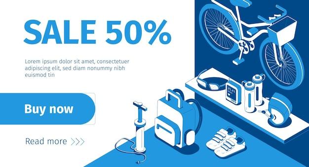 Izometryczny baner sprzedaży sklepu rowerowego w kolorze niebieskim i białym