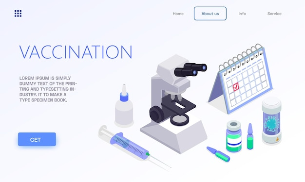 Izometryczny baner strony docelowej szczepień