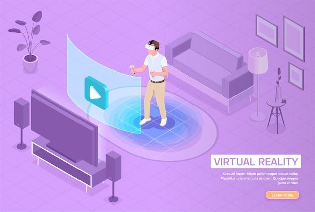 Izometryczny baner wirtualnej rzeczywistości rozszerzonej z mężczyzną w zestawie słuchawkowym zanurzonym w rozrywce vr