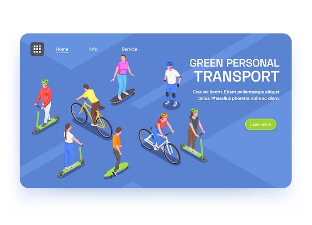Izometryczny baner z ludźmi korzystającymi z ekologicznego transportu osobistego 3d