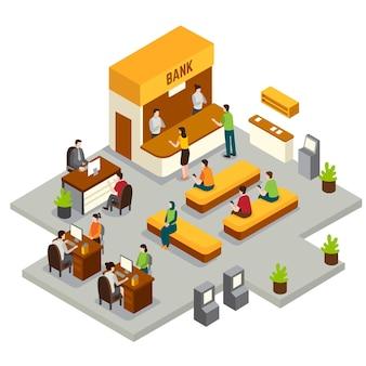 Izometryczny bank z pracownikami