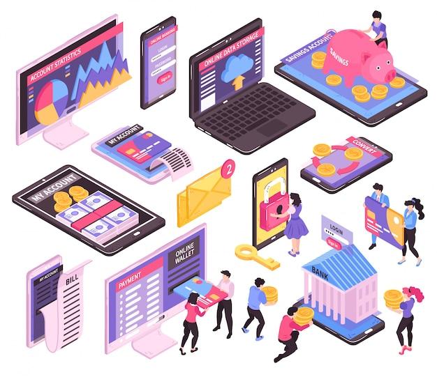 Izometryczny bankowość mobilna online zestaw izolowanych obrazów z ekranami urządzeń elektronicznych i ikonami infografiki finansowej