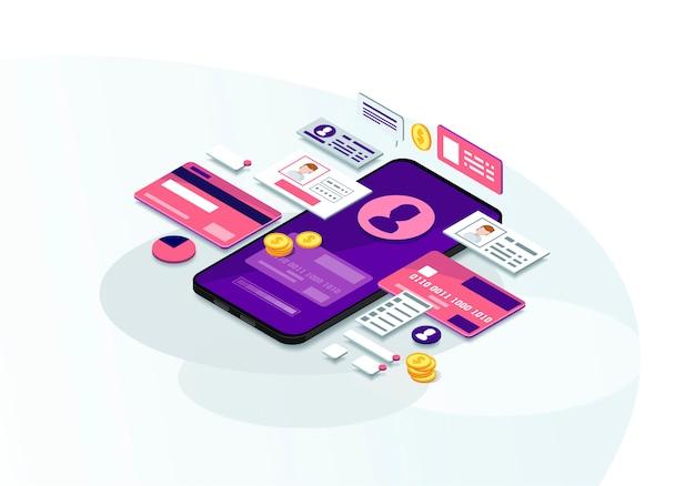 Izometryczny bankowość mobilna
