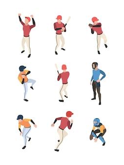 Izometryczny baseball. sportowe gry zespołowe ludzi w akcji stawia kolejny stojący baseball dzban ilustracji wektorowych. sport baseballowy, gracz gry