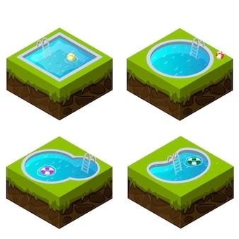 Izometryczny basen o różnych kształtach
