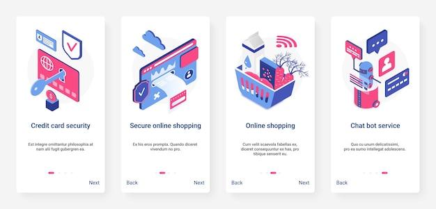 Izometryczny bezpieczny zestaw zabezpieczeń zakupów online ux ui wprowadzający zestaw ekranu strony aplikacji mobilnej