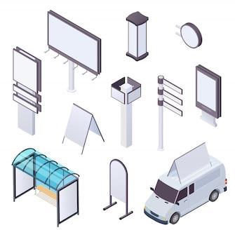 Izometryczny billboard. reklama citylight plakat billboardy plakat zewnętrzny reklama reklama transparent oznakowanie uliczne zestaw