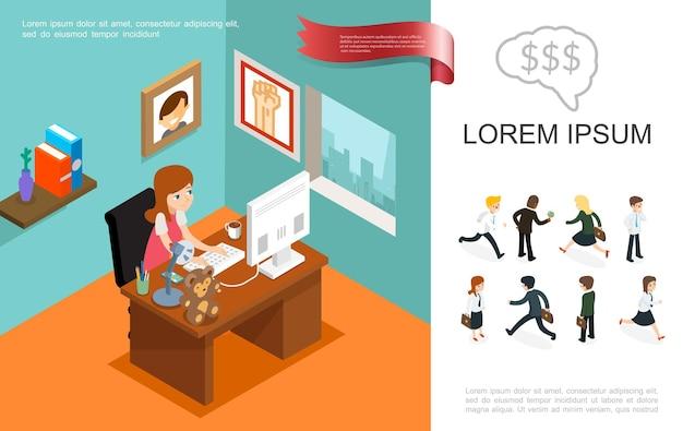 Izometryczny biznes kolorowy koncepcja z kobietą pracującą w biurowych biznesmenach i kobietach w różnych pozach ilustracji,