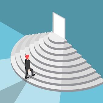Izometryczny biznesmen idący po schodach do drzwi z jasnym światłem