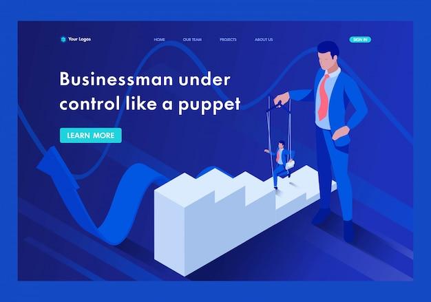 Izometryczny biznesmen jest pod kontrolą jak marionetka