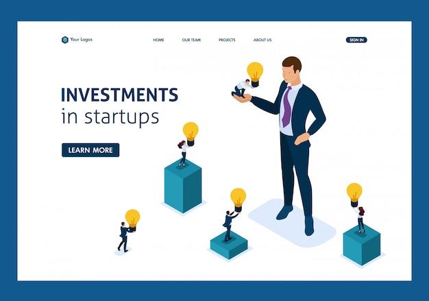 Izometryczny biznesmen oferuje możliwość inwestycyjną, inwestowanie w startup, rozwój biznesu.