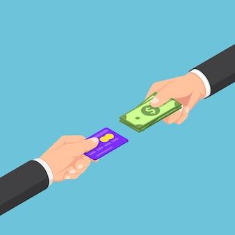 Izometryczny biznesmen otrzymał zwrot gotówki, gdy płaci kartą kredytową