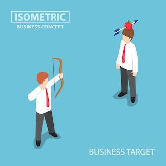 Izometryczny biznesmen strzelać jabłko na głowę kolegi